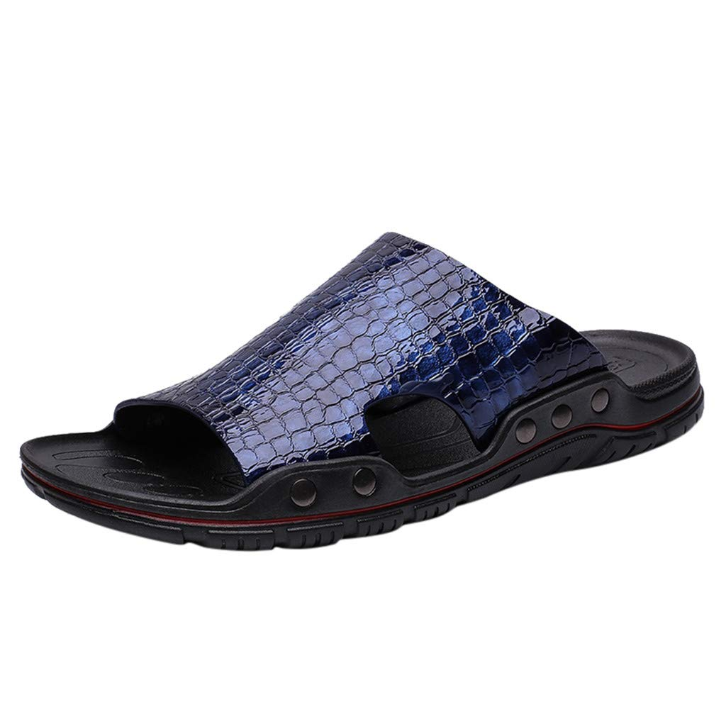 Men Slide Slippers - Outdoor Leisure Beach Breathable Round Head Non-Slip Comfort Peep Toe Flat Sandals