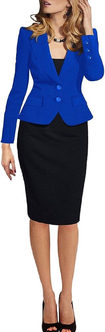 SEBOWEL Donna Giacca Blazer Taglie Forti 3//4 Manica Lunga Cardigan Cappotto