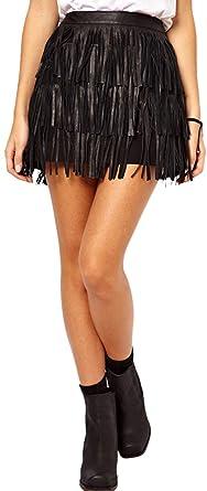 Mini Falda para Discoteca De Cintura Alta con Flecos PU Negra A ...