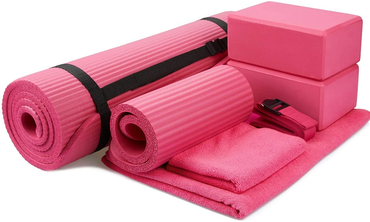 BalanceFrom GoYoga 7-Piece Set - Include Yoga Mat with Carrying Strap, 2 Yoga Blocks, Yoga Mat Towel, Yoga Hand Towel, Yoga Strap and Yoga Knee Pad