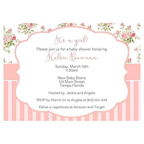 Baby Shower Invitations Baby Girl Invites Shabby Simple Chic Tea Party Rose Stripes French Pink It S A Girl Sip And See Bohemian Boho Customized