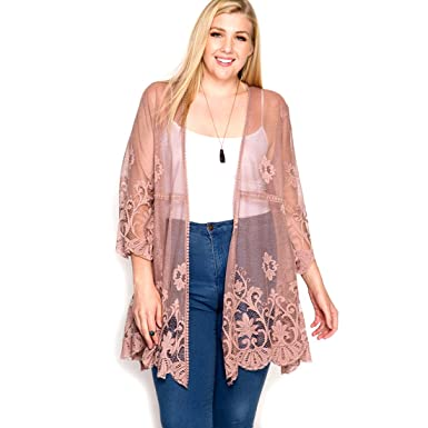 8749e4f51c9c6 She + Sky 3 4 Sleeve Dusty Rose Floral Lace Sheer Kimono Cardigan Plus Size