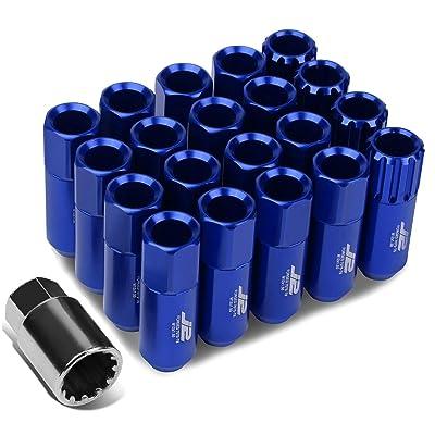 J2 Engineering LN-T7-010-15-BL Blue 7075 Aluminum M12X1.5 16Pcs L: 60mm Open End Lug Nut w/4Pcs Lock+Key: Automotive