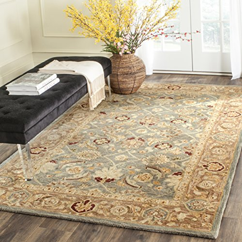 Safavieh Anatolia Collection AN549B Handmade Traditional Oriental Teal Blue and Taupe Wool Area Rug (6' x 9') ()