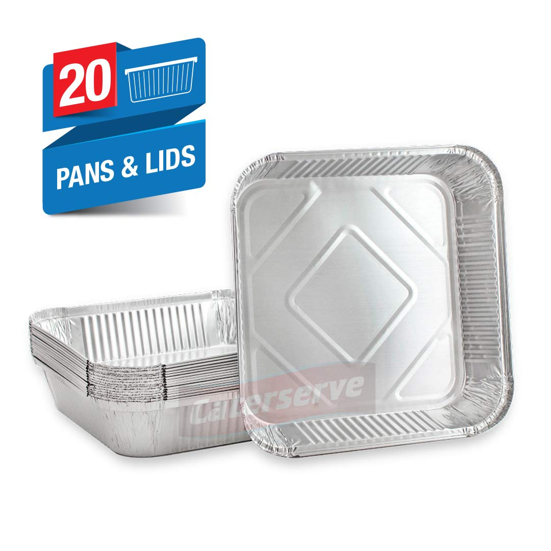 Cooking Disposable Foil Pans Aluminium Foil Takeaway 1L Containers for Baking 12 Pack Freezing and Storing Trays with Silver Lids