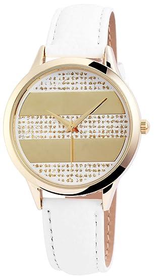 Reloj mujer oro blanco tiras de piel Reloj de pulsera