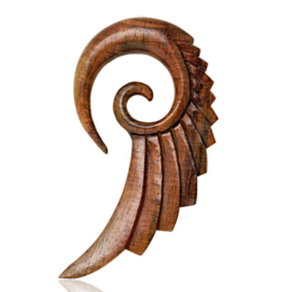 Covet Jewelry Organic Sono Wood Swan's Wing Spiral Taper (00GA) by Covet Jewelry