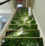 3D Green Trees Forest 704 Stair Risers Decoration Photo Mural Vinyl Decal Wallpaper Murals Wallpaper Mural US Lemon (15x H:18cm x W:94cm (7''x37''))