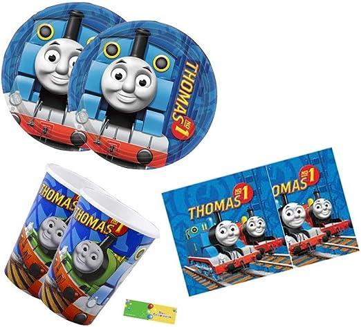 amscan IRPot- Juego de mesa de 72 piezas con diseño de tren Thomas para fiestas de cumpleaños infantiles: Amazon.es: Hogar
