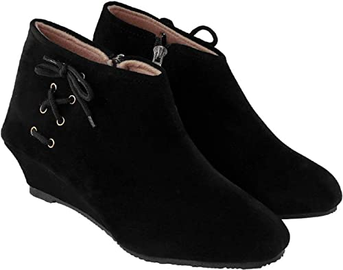 Suede Ankle Boot for Women \u0026 Girl-Black