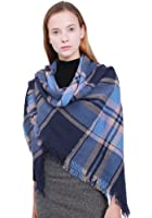 MissShorthair Fashion Unisex Winter Reversible Plaid Print Blanket Scarves Shawl