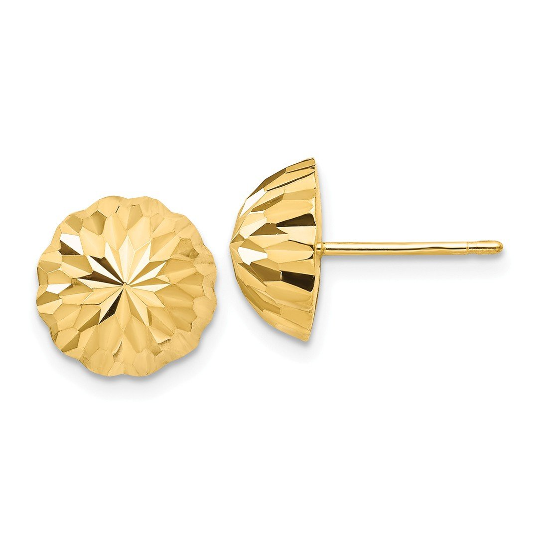 ICE CARATS 14k Yellow Gold 10mm Domed Post Stud Ball Button Earrings Fine Jewelry Ideal Mothers Day Gifts For Mom Women Gift Set From Heart