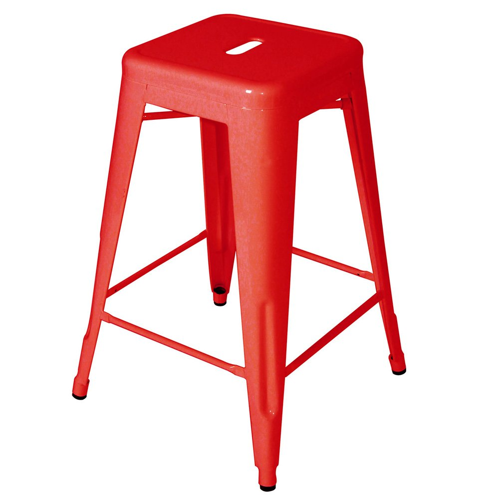 Flash Furniture 24'' High Backless Red Metal Indoor-Outdoor Counter Height Stool with Square Seat by Flash Furniture