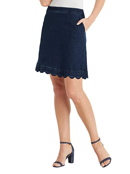 boy top-rated authentic authentic quality Draper James SKD0136 Scallop Denim Skirt in Medium Wash (0 ...