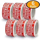 6 Rolls/3000 Labels,Handle with Care–Fragile–Thank You, Red Warning Shipping Label Stickers (2'' x 3'')