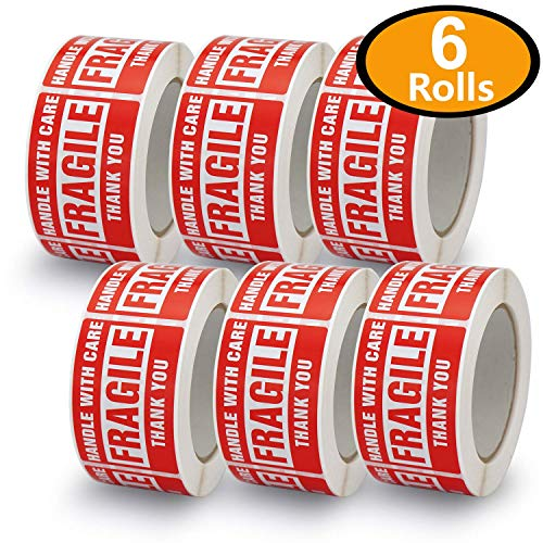 6 Rolls/3000 Labels,Handle with Care-Fragile-Thank You, Red Warning Shipping Label Stickers (2