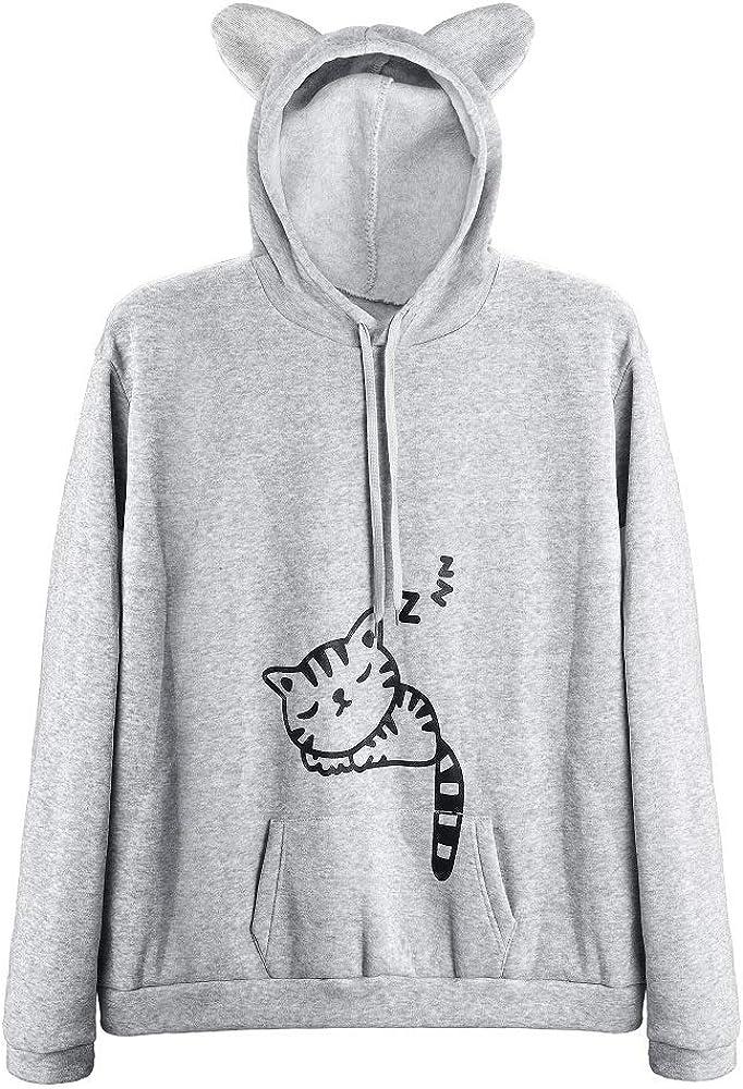 Women Teen Girls Cat Hoodie Sweatshirt Cute Cat Ear Sleeping Cat Printed Pullover Sweatshirt