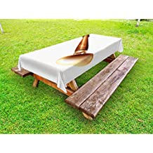 Lunarable Shehnai Outdoor Tablecloth, Asian National Wind Instrument Aerophone Acoustic Pipe Traditional Music, Decorative Washable Picnic Table Cloth, 58 X 120 Inches, Pale Caramel White