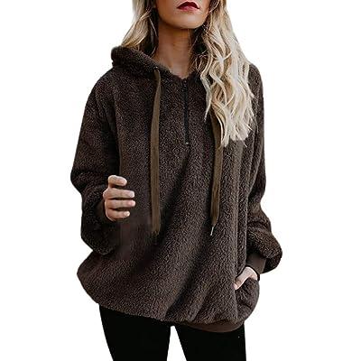 2020 Women Coat Fashion Hoodies Plus Size Sweatshirts Fuzzy Warm Sherpa Casual Sale Pockets Fleece Pullover Top Outwear at Women's Clothing store