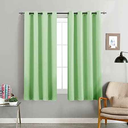 TOPICK Light Blocking Green Blackout Curtains Room Darkening Thermal Insulated Decorative Curtain Panels Drapes Solid