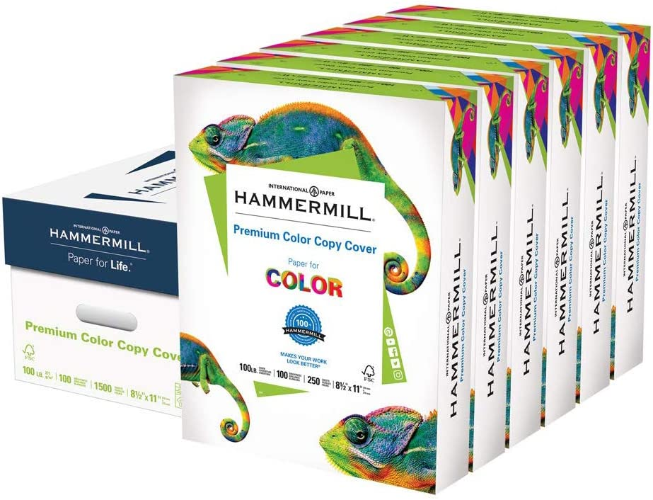 Hammermill Premium Color Copy Cover 100lb Cardstock, 8.5 x 11, 6 Packs, 1500 Sheets, Made in USA, Sourced From American Family Tree Farms, 100 Bright, Acid Free, Heavy-weight Printer Paper, 120024C