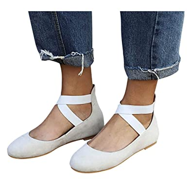 107fa25045756 Women s Sandals Closed Pointed Toe Buckled Criss Cross Casual Pumps Flat  Ankle Strap Shoes (Beige