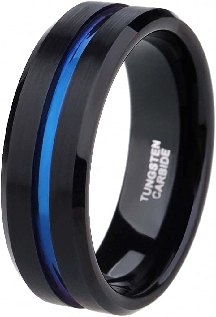 Gnex 8mm Vintage Black Tungsten Rings with Blue Stripe Mens Wedding Anniversary Bands
