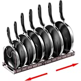 MDHAND Pan Organizer Rack for Cabinet, Expandable Pan Pot Lid Organizer Rack with 7 Adjustable Dividers, Kitchen Cookware Sto