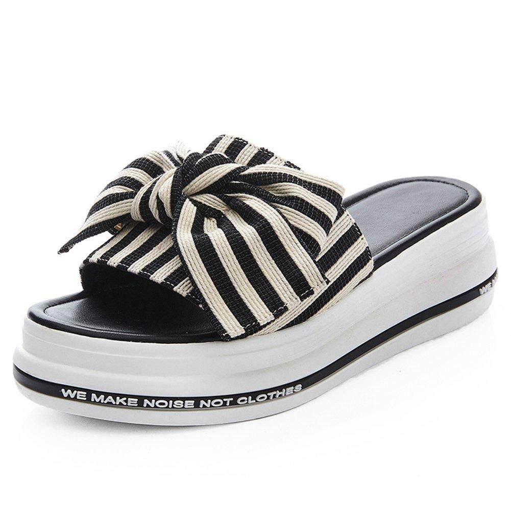 LIXIONG zapatillas Hembra verano Ropa exterior Moda Nudo mariposa Fondo de pastel de pino Fondo grueso zapato, Altura del talón 5cm, 4 colores -Zapatos de moda ( Color : #1-Black , Tamaño : EU34/UK3/CN34/220 ) EU34/UK3/CN34/220|#1-Black