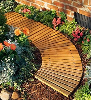 4'L x 18''W Portable Roll-Out Wooden Curved Pathway
