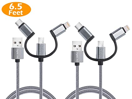 collection de remise beau look élégant et gracieux Digital Ant 3 in 1 Charging and Data Syn Cable/3 in 1 Charging Cord Nylon  Braided Cable Compatible with Android and i-Products, Twin-Pack (5 Feet ...