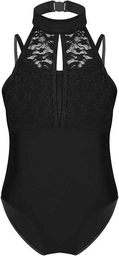 Womens Lace Back Tank Leotard Turtle Neck Ballet Gymnastics Dancewear Bodysuit