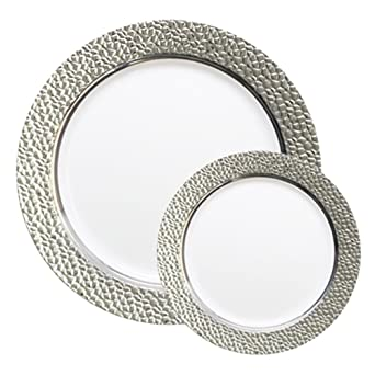 TTG 200-Piece Plastic Dinnerware Set | Hammered Collection | (100) Dinner Plates  sc 1 st  Amazon.com : 100 dinner plates - pezcame.com