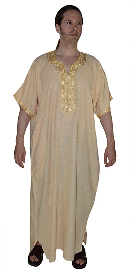 d9308e6118b3d2 Amazon.com   Moroccan Men Clothing Hand made Djellaba Gandoura One Size  Gold   Everything Else
