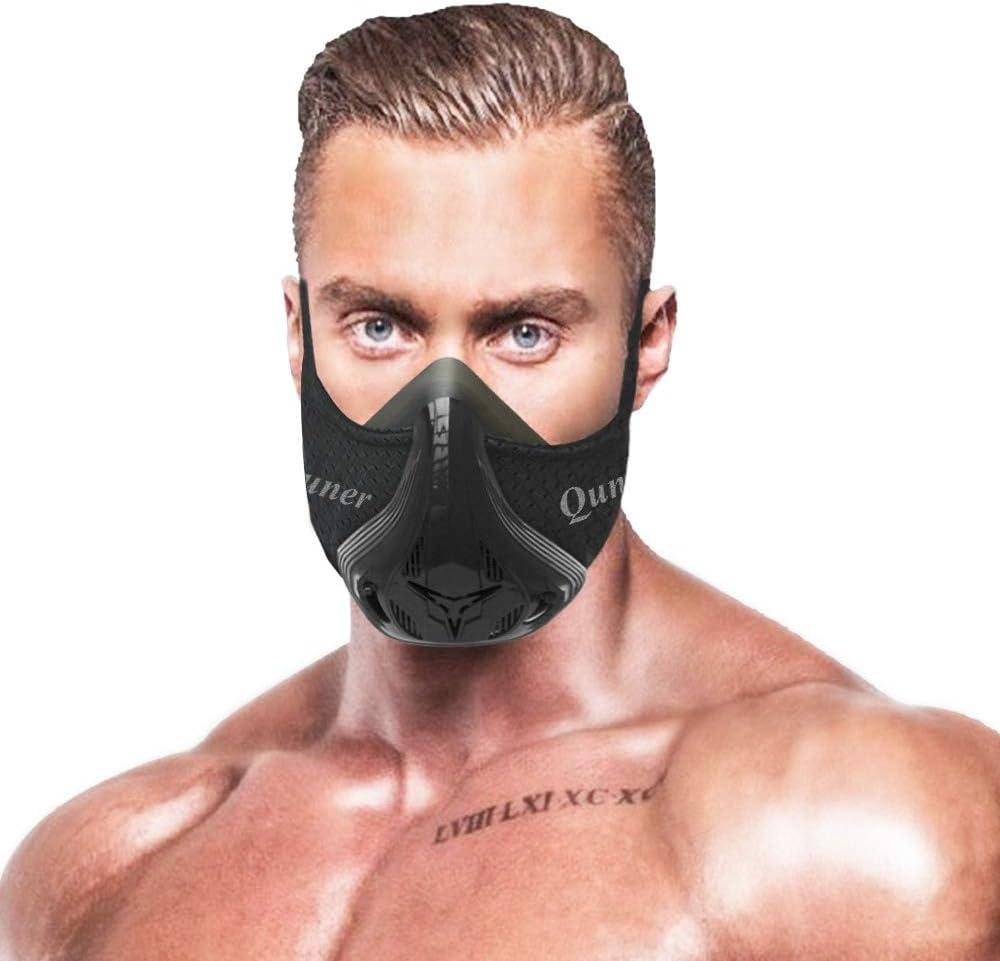 QISE Máscara de Entrenamiento Resistencia Respiración Oxígeno Sport Fitness Máscara 48 Niveles de Resistencia a la respiración e imitar el Entrenamiento a Gran Altura para Correr Ciclismo Fitness