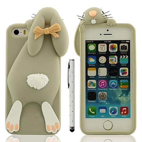 Funda Protectora iPhone SE 5C Anti golpes, Carcasa para Apple iPhone 5 5S Gris, Muy 3D Animal Estilo Linda Conejo Apariencia Suave Silicona Gel Ajuste ...