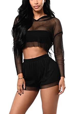 119ab13fd0e641 Zuvebamyo Women's Jumpsuits 2 Pieces Hooded Mesh Sheer Crop Top Blouse  Shorts Romper Black L