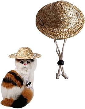 Milopon - Sombrero para mascotas, gato, perro, paja, sombrero de ...
