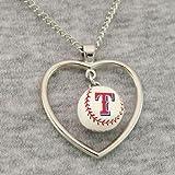 : Texas Rangers - MLB Mini Baseball Heart Pendant Necklace