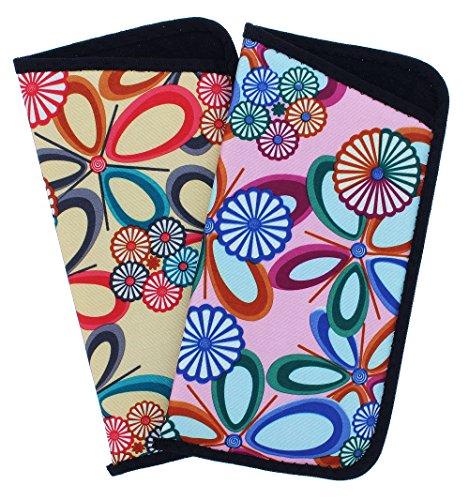 2 Pack Soft Slip In Eyeglass Case For Women, Reading Glasses Case- Pink & Beige