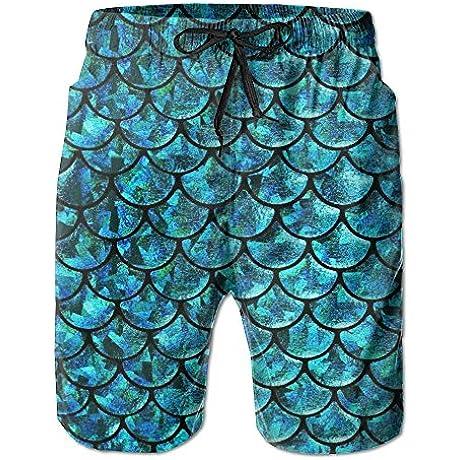 Men S Swim Trunks Blilng Fish Dragon Scales Quickly Dry Beach Shorts