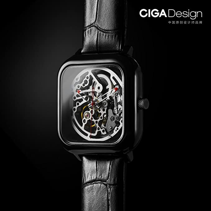 Amazon.com: CIGA Design Men s black ceramic automatic mechanical watch square design hollow watch: Watches