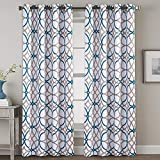 """large window treatments  Bedroom Blackout Curtain Panels - Home Fashion Teal and Taupe Geo Pattern Energy Saving Window Treatment Ring Top Blackout Draperies and Drapes (52"""" x 108"""", Set of 2 Panels)"""