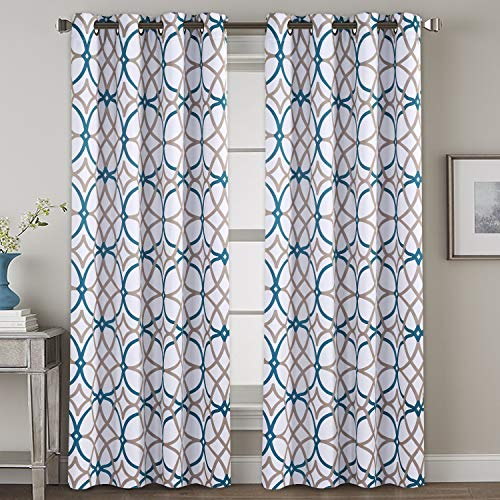 H.VERSAILTEX Bedroom Blackout Curtain Panels - Home Fashion Teal and Taupe Geo Pattern Energy Saving Window Treatment Ring Top Blackout Draperies and Drapes (52