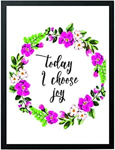 "Wall art with quote""Today i choose joy"" decor -home decor- modern art floral print-teen room decor- beautiful housewarming -gifts for loved ones- room-entrance-lobby wall art decor-#WP-10"