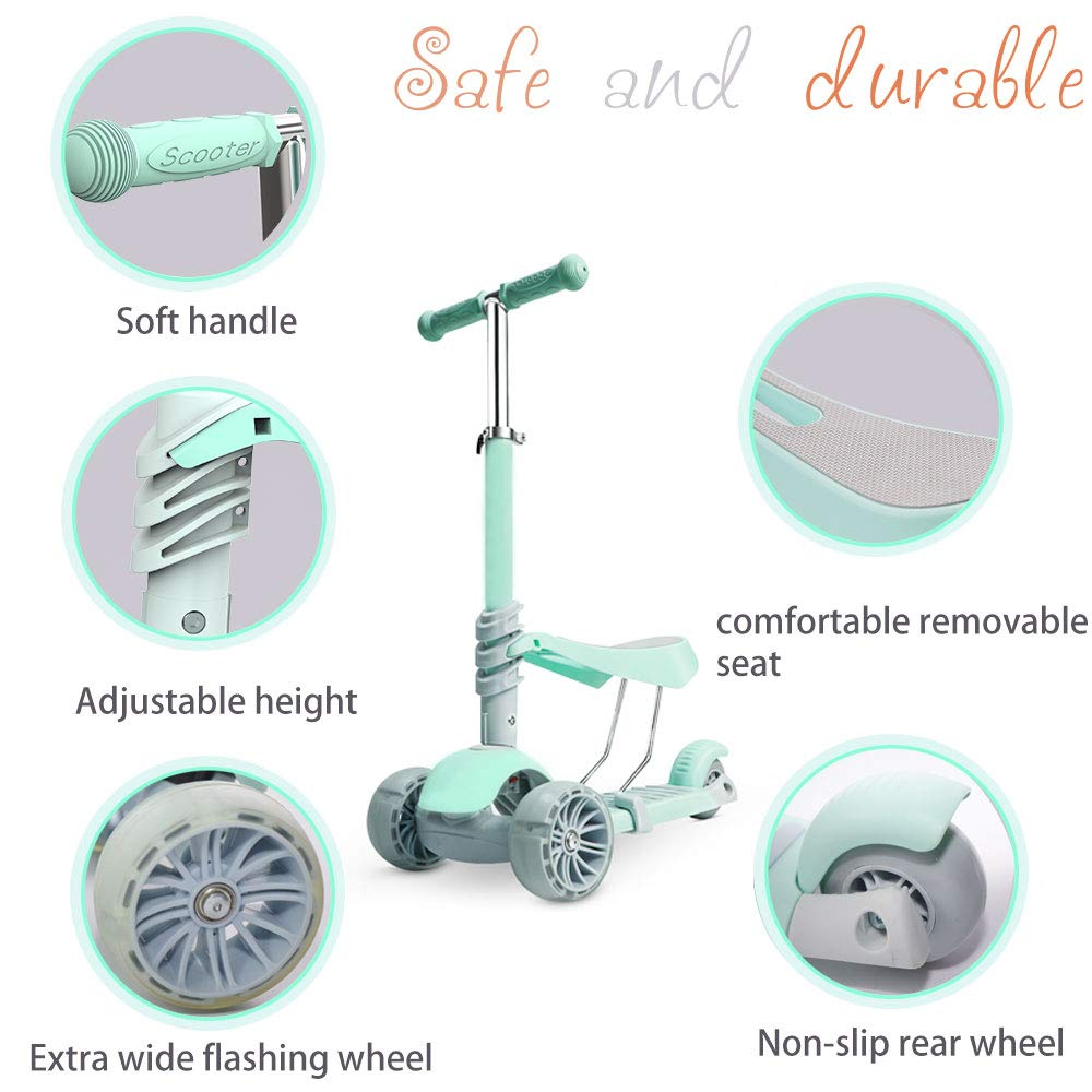 AERLANG Scooters for Kids,Kick Scooter with Extra-Wide PU Flashing Wheels,3 Wheel Scooter with Detachable Seat for Toddles,Kid Gifts Age 2-10