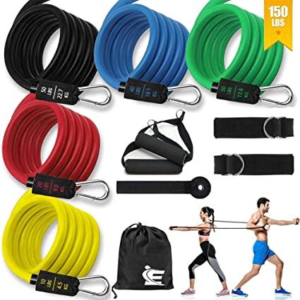 5 Stackable Exercise Bands with Handles Door Anchor Ankle Straps Door Anchor Carry Bag for Resistance Training Home Workouts Physical Therapy Yoga Fitness Bands louqe Resistance Bands Set 150LBS