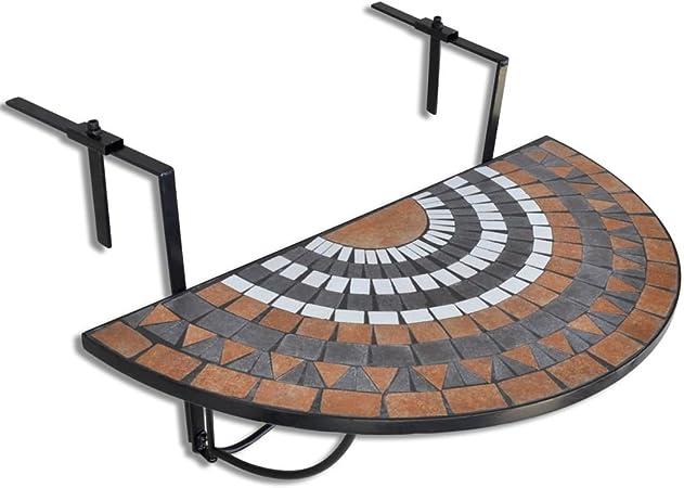 Vidaxl Balkontisch Mosaik Halbrund Klapptisch Balkonhangetisch