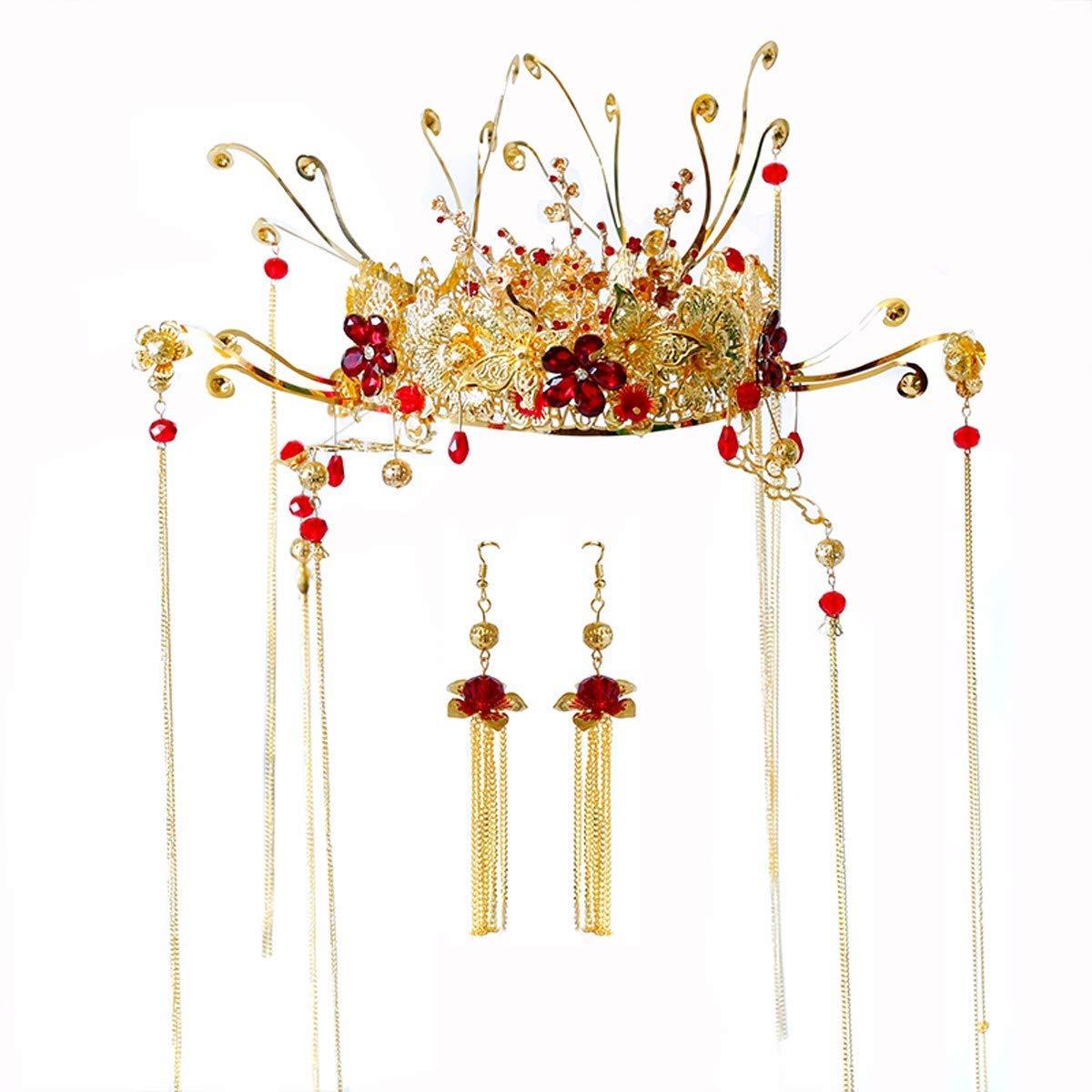 Wedding Crown, Beautiful headdress/Chinese Ancient Costume Bridal Crown Xiu Wo Dress Headgear Golden Fringes Toast Wedding Accessories.