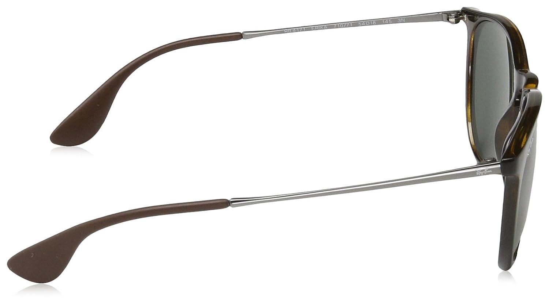 Ray Ban, Erika - Gafas de sol unisex, rama color marron y lente color verde oscuro, talla 54 mm
